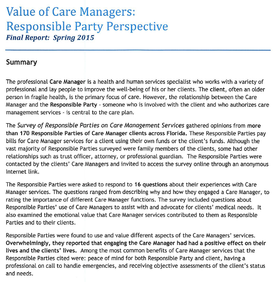 Value of Care Managers report